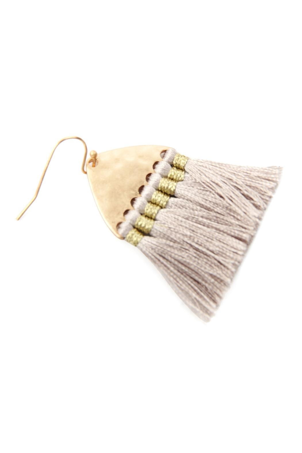 Riah Fashion Thread Tassel-With-Hammered Metal-Hook-Earrings - Front Full Image