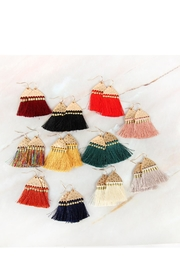 Riah Fashion Thread Tassel-With-Hammered Metal-Hook-Earrings - Back cropped