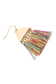 Riah Fashion Thread Tassel-With-Hammered Metal-Hook-Earrings - Front full body