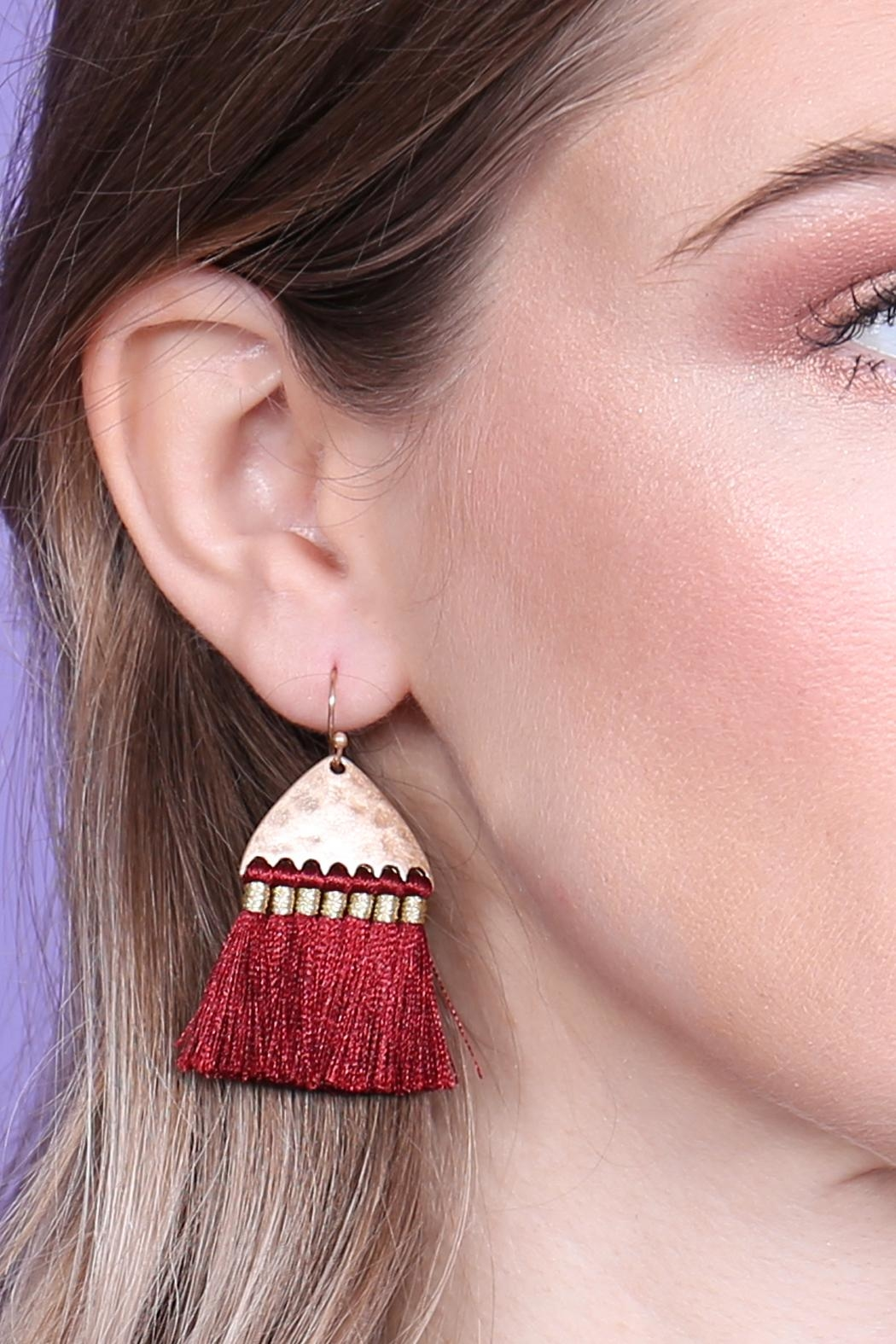 Riah Fashion Thread Tassel-With-Hammered Metal-Hook-Earrings - Side Cropped Image