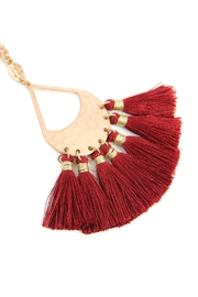 Riah Fashion Thread Tassel-With-Hammered-Metal-Pendant-Necklace - Product Mini Image