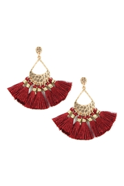 Riah Fashion Thread Tassel-With-Hammered-Teardrop Metal-Drop-Earrings - Product Mini Image