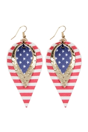 Riah Fashion Three-Layer-Usa-Accent-Leather-Drop-Earrings - Product Mini Image