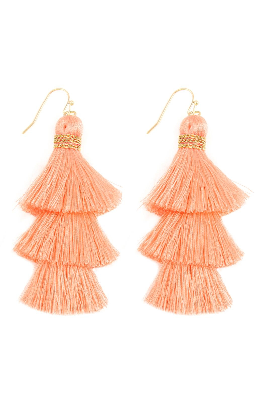 Riah Fashion Three Layered Thread-Tassel-Hook-Earrings - Front Cropped Image