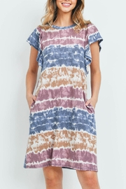 Riah Fashion Tie-Dye-Flutter-Sleeves-On-Seam-Pocket-Dress - Front cropped
