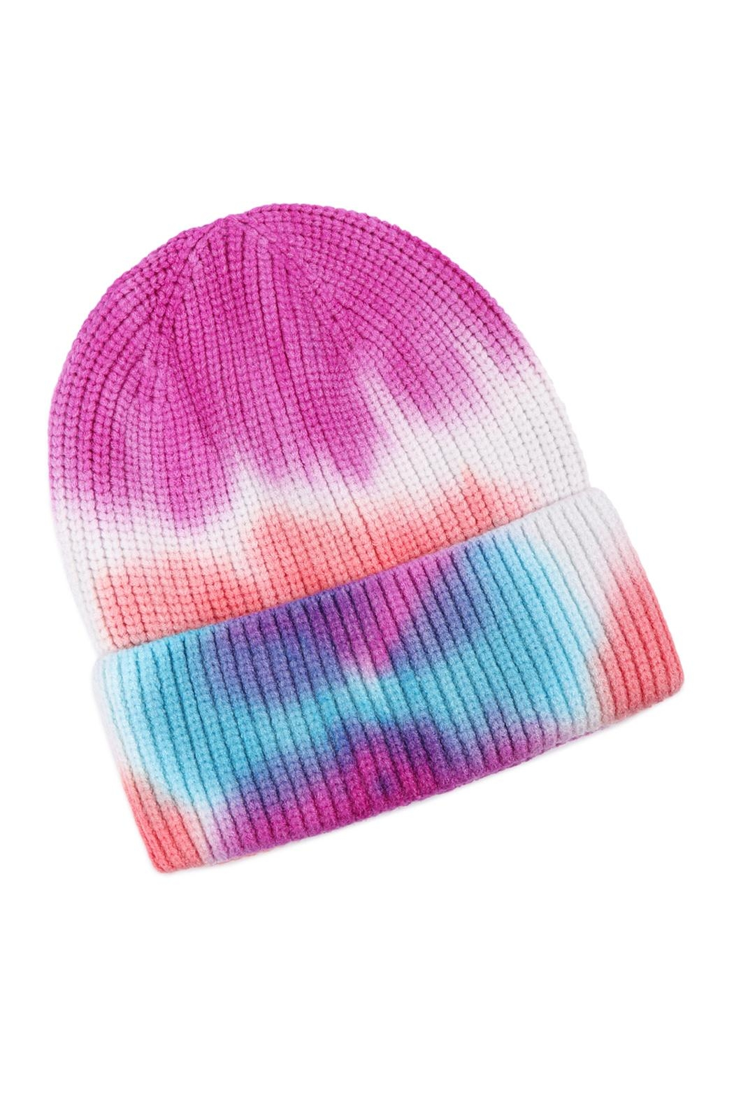 Riah Fashion Tie-Dye-Knitted-Multicolor-Beanie - Front Full Image