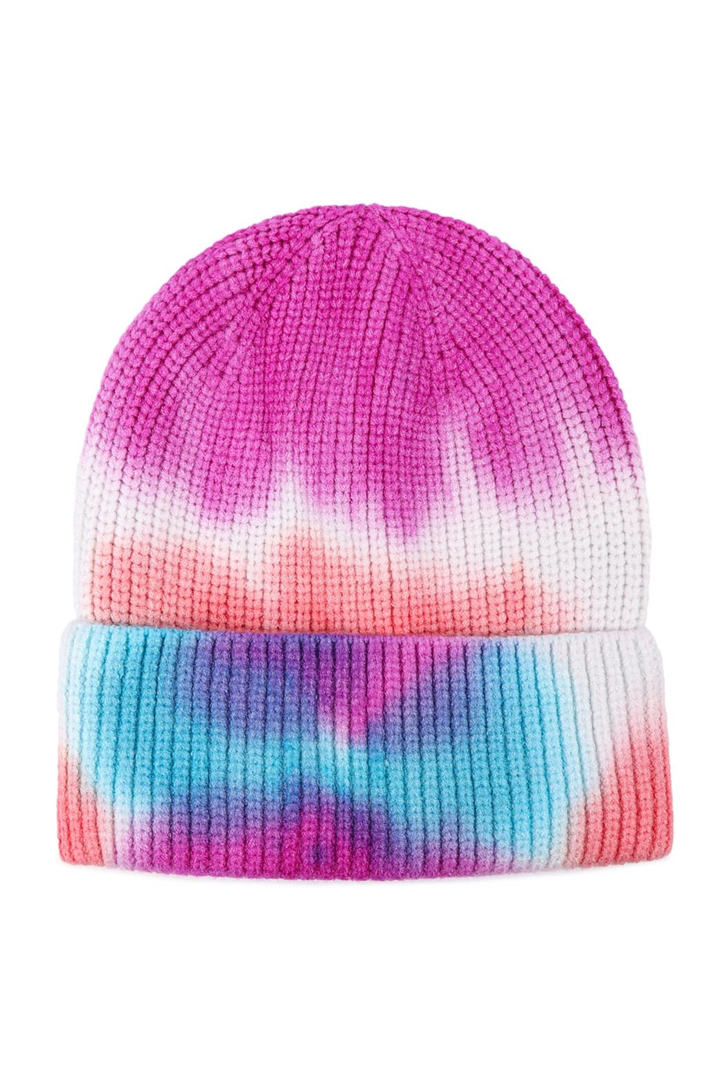 Riah Fashion Tie-Dye-Knitted-Multicolor-Beanie - Front Cropped Image
