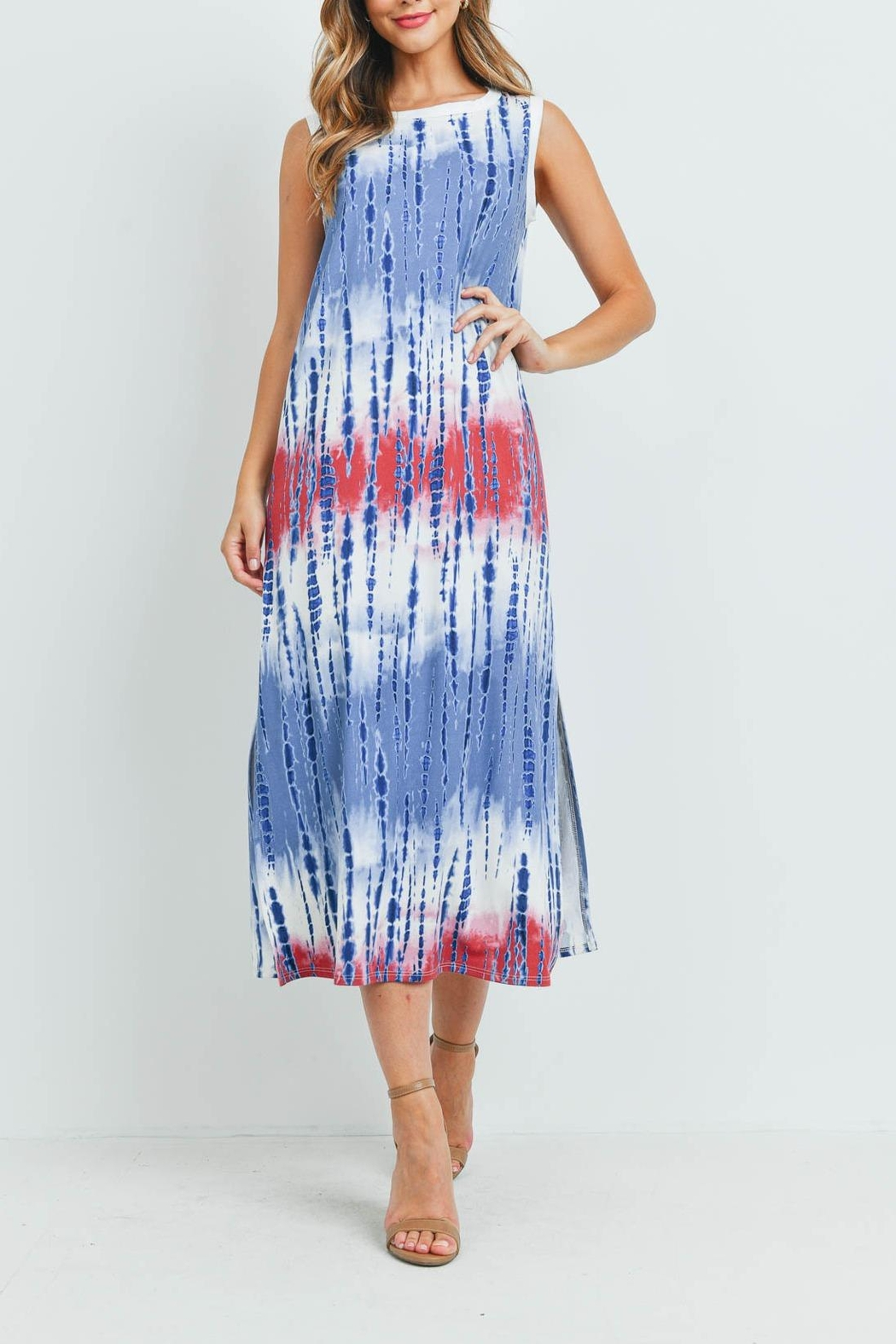Riah Fashion Tie-Dye-Tank-Dress-With-Side-Slit - Front Cropped Image
