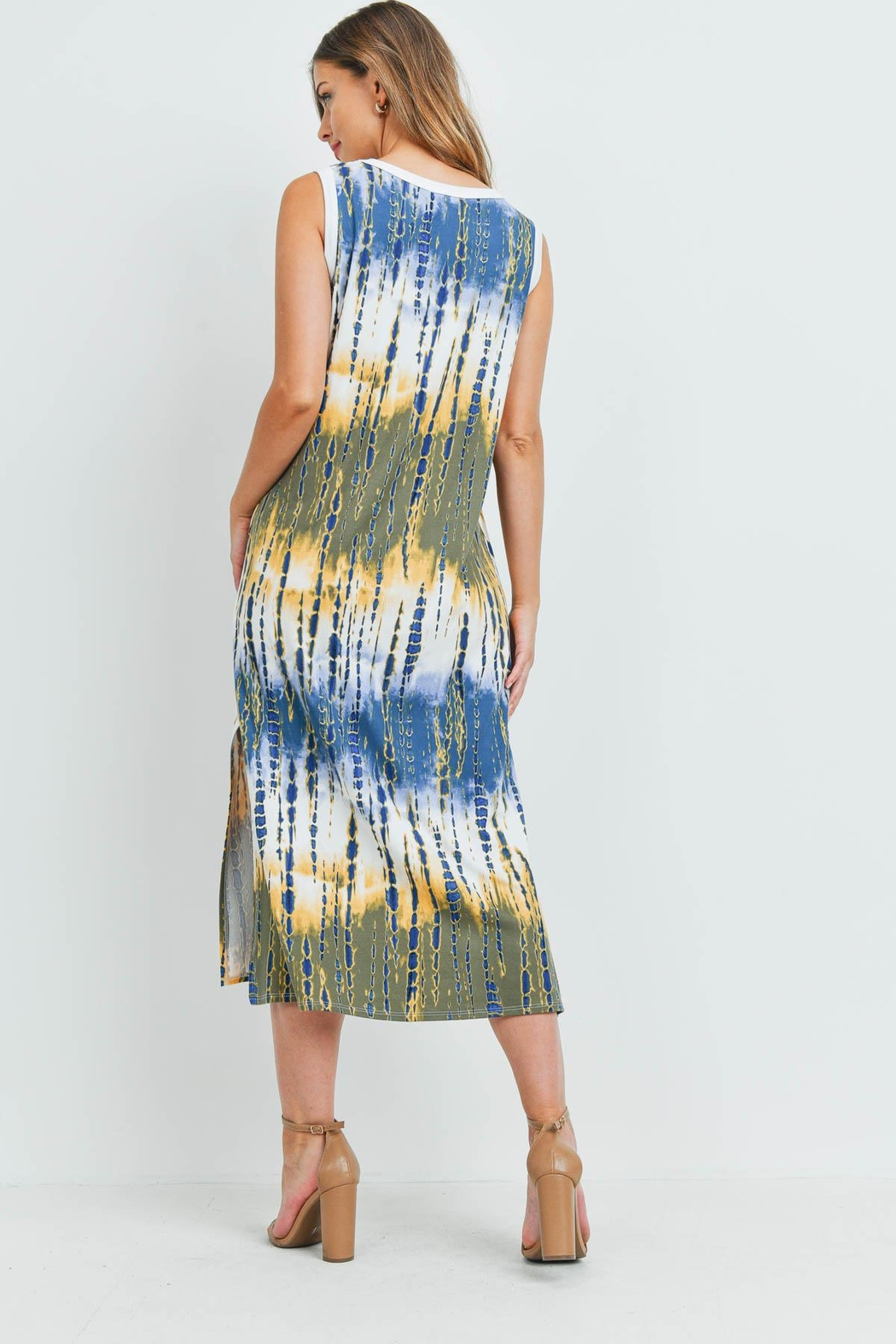 Riah Fashion Tie-Dye-Tank-Dress-With-Side-Slit - Front Full Image