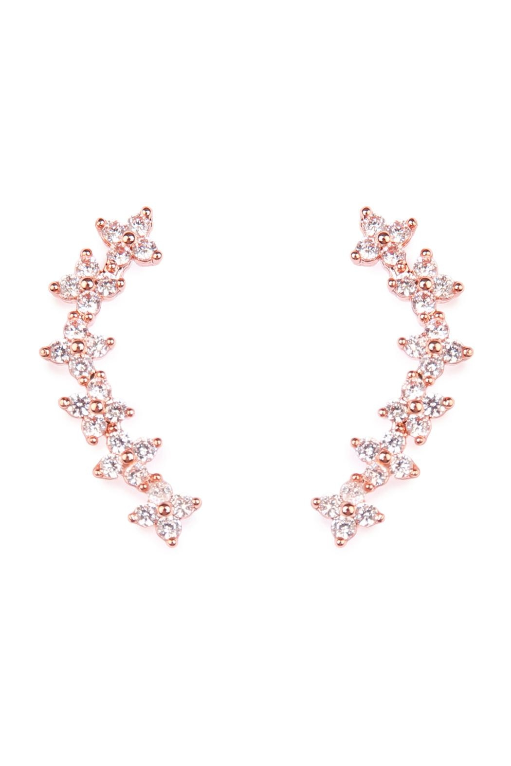 Riah Fashion Tiny Flower Crawler Earrings - Main Image