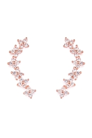 Riah Fashion Tiny Flower Crawler Earrings - Front cropped