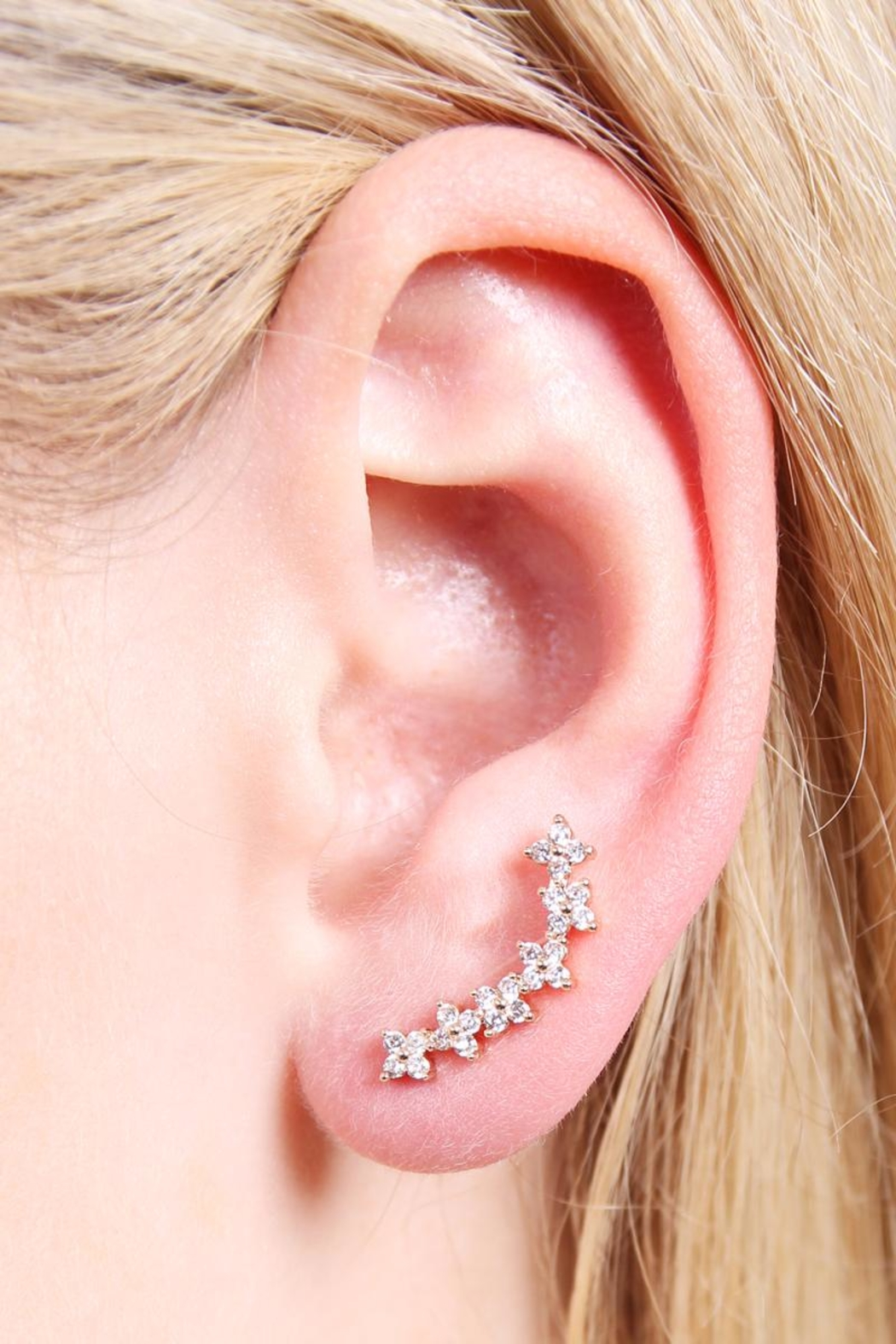 Riah Fashion Tiny Flower Crawler Earrings - Side Cropped Image
