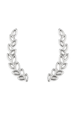 Riah Fashion Tiny Silver Leaf Crawler Earrings - Product List Image