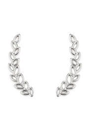 Riah Fashion Tiny Silver Leaf Crawler Earrings - Product Mini Image
