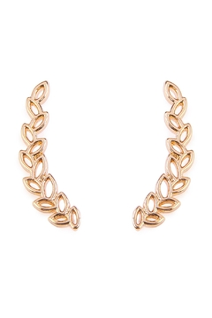Riah Fashion Tiny Gold Leaf Crawler Earrings - Product List Image