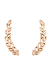 Riah Fashion Tiny Gold Leaf Crawler Earrings - Product Mini Image