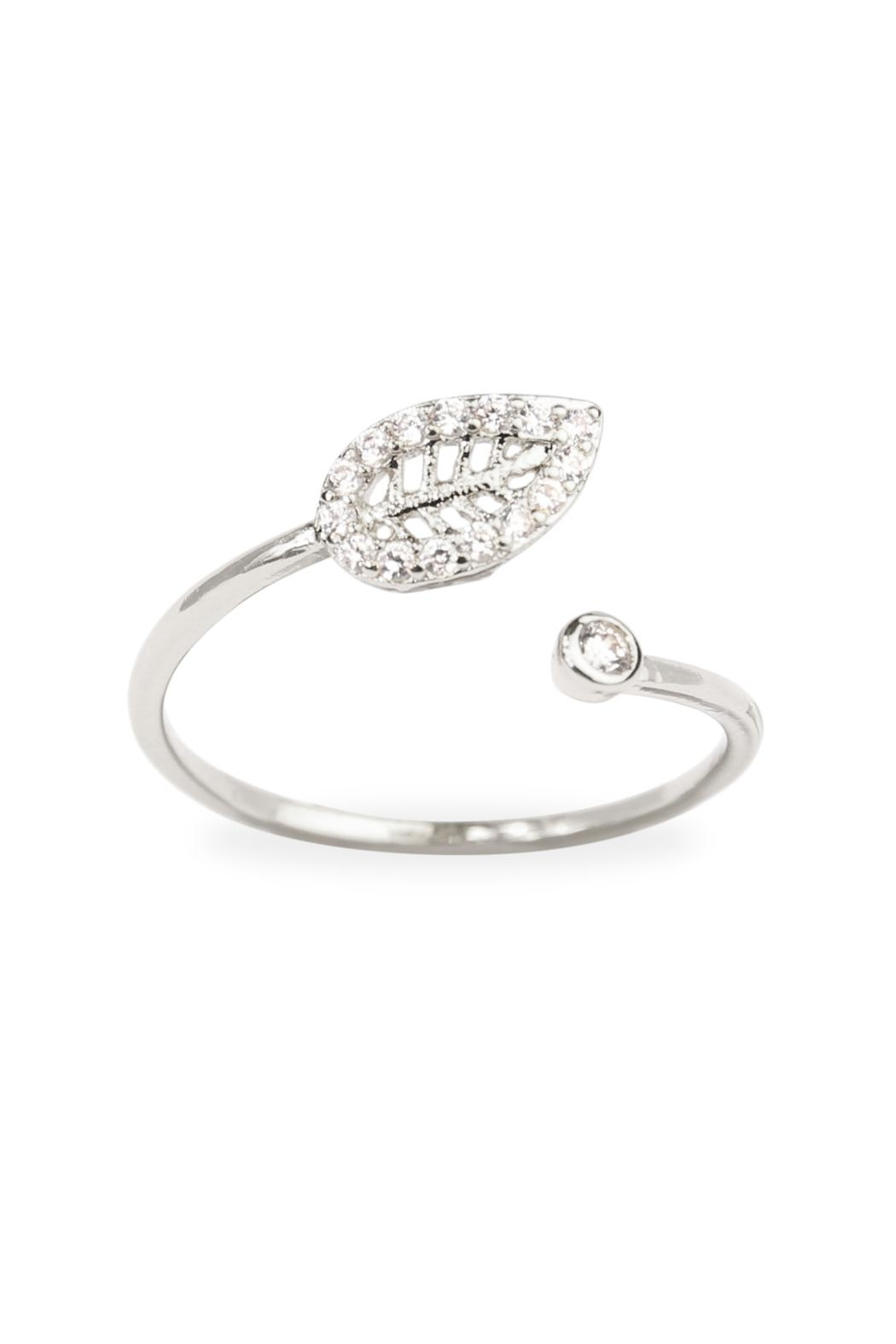 Riah Fashion Tiny Leaf Ring - Front Cropped Image