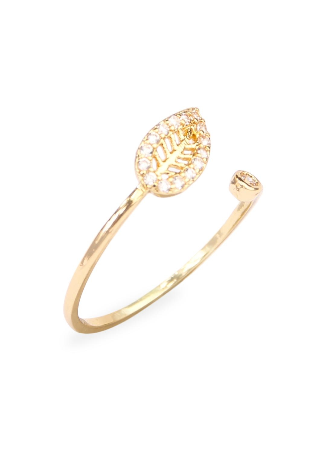 Riah Fashion Tiny Leaf Ring - Front Full Image