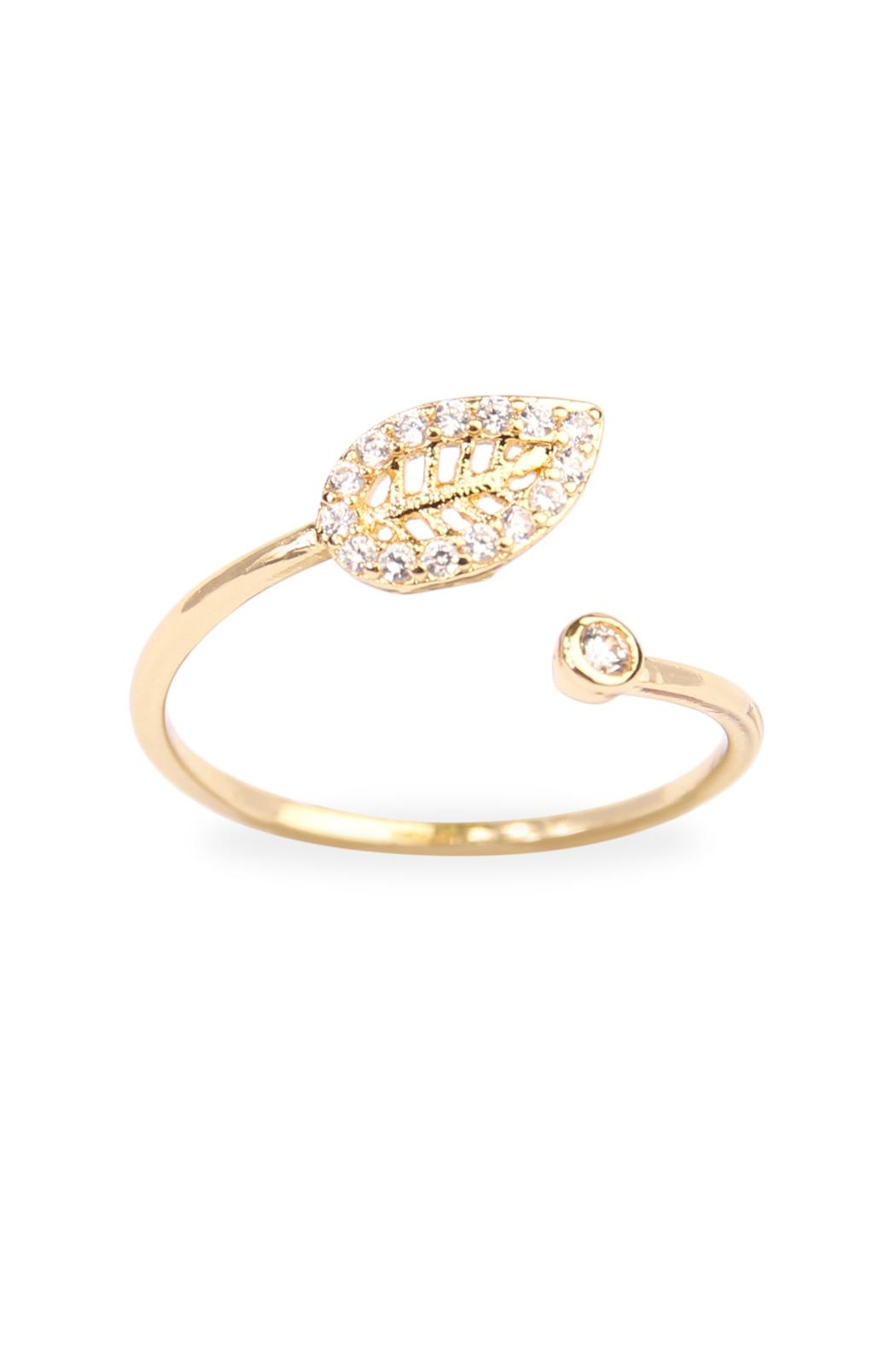 Riah Fashion Tiny Leaf Ring - Main Image