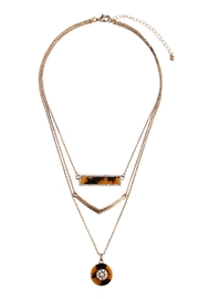 Riah Fashion Tortoise Marquise Round Necklace - Product Mini Image