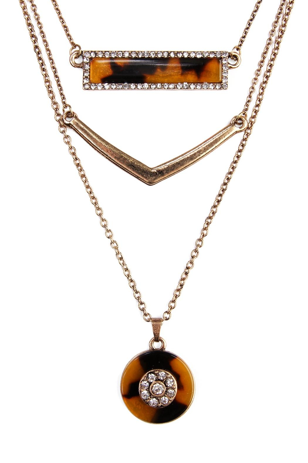 Riah Fashion Tortoise Marquise Round Necklace - Front Full Image