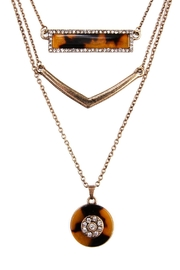 Riah Fashion Tortoise Marquise Round Necklace - Front full body