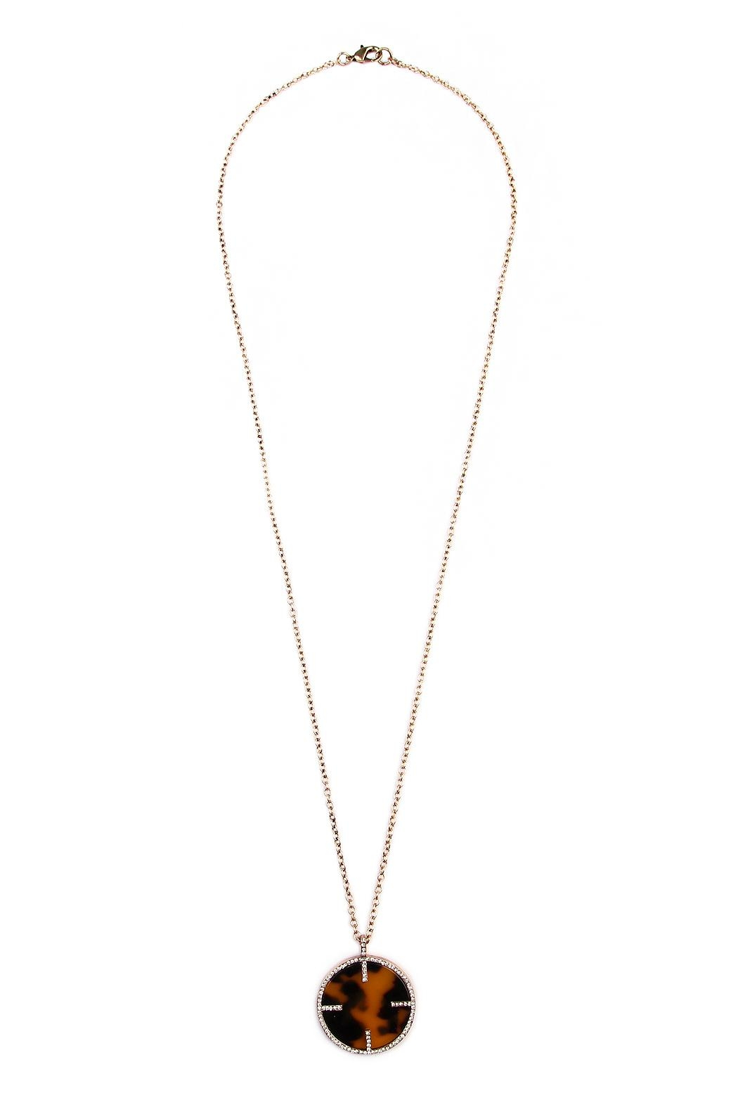Riah Fashion Tortoise Round Necklace - Front Cropped Image