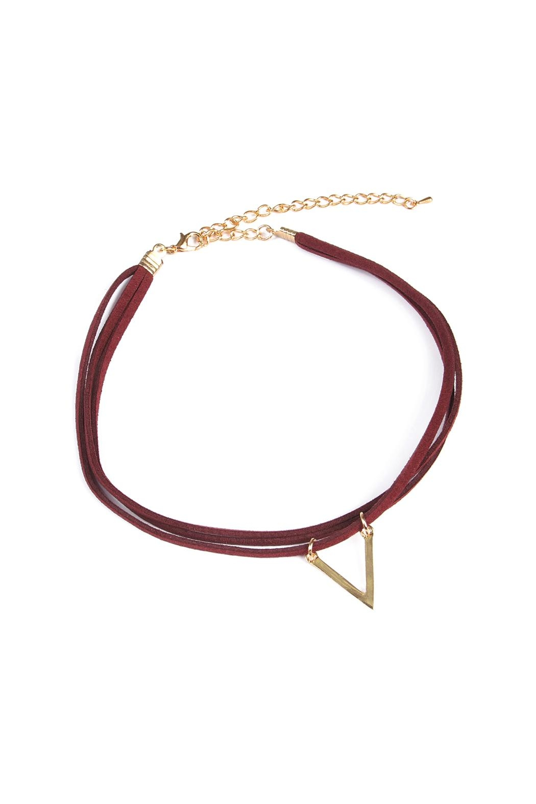 Riah Fashion Triangle Pendant Choker - Front Cropped Image