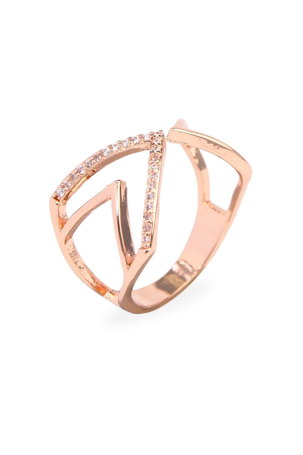 Riah Fashion Triangular Geometric Wrap Ring - Front Full Image