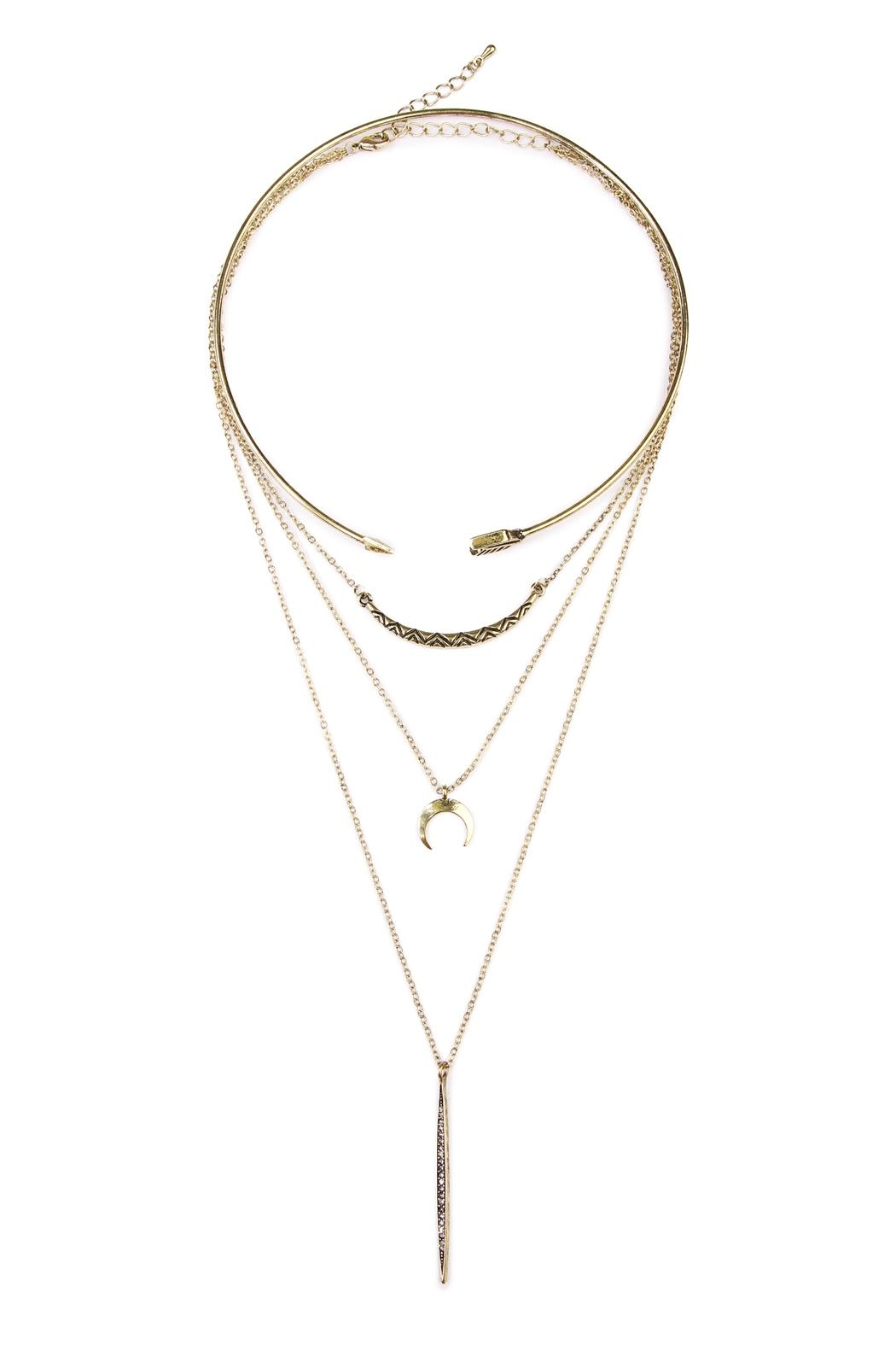 Riah Fashion Tribal Choker Necklace - Front Full Image