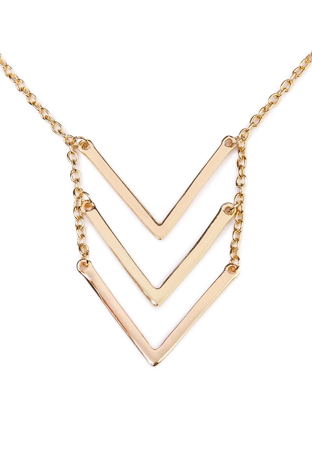 Riah Fashion Triple Chevron V-Necklace - Front Full Image