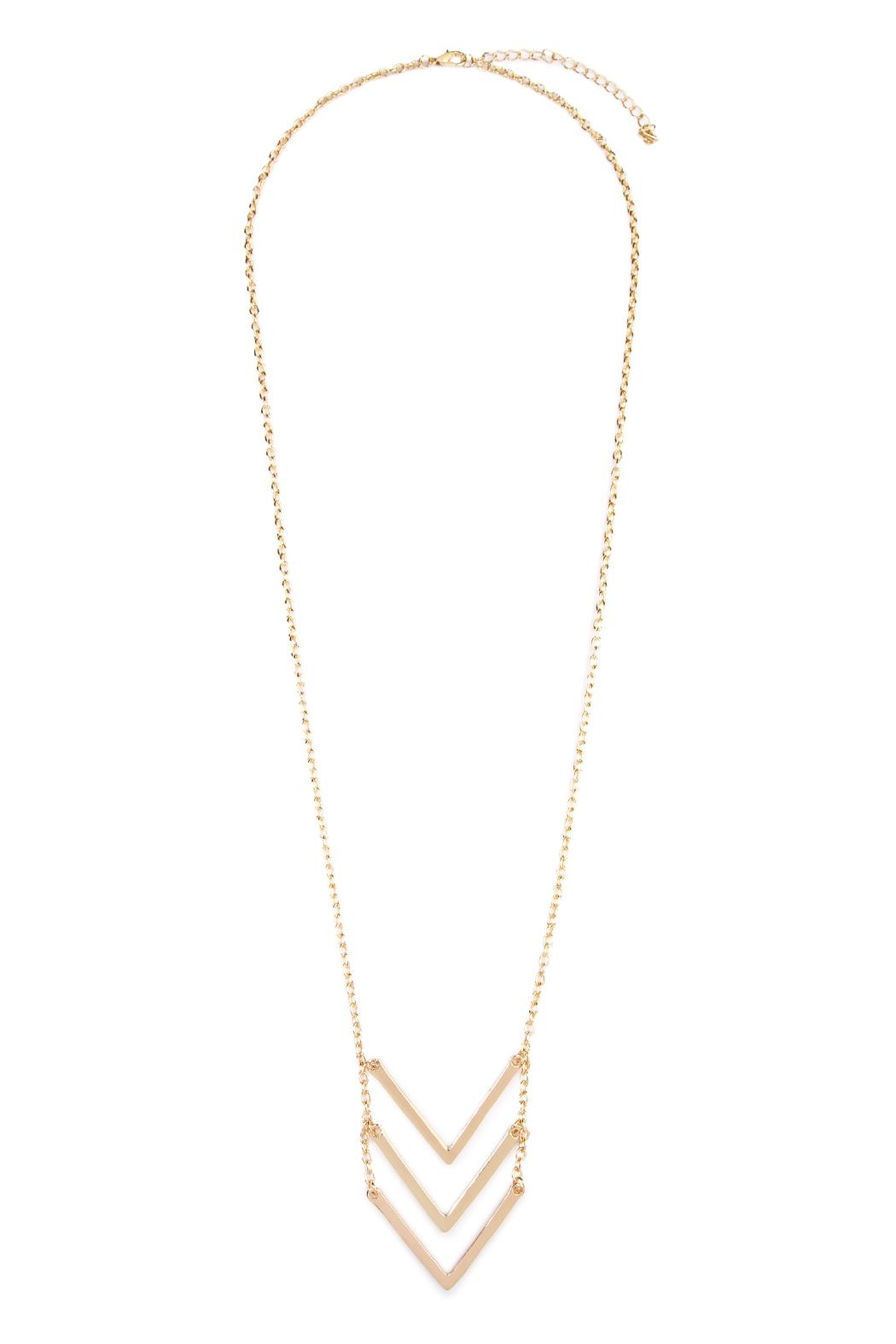 Riah Fashion Triple Chevron V-Necklace - Front Cropped Image
