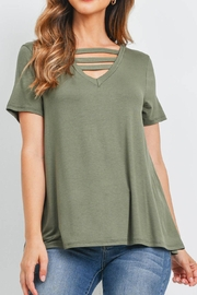 Riah Fashion Triple Strap Neck Solid Top - Front cropped