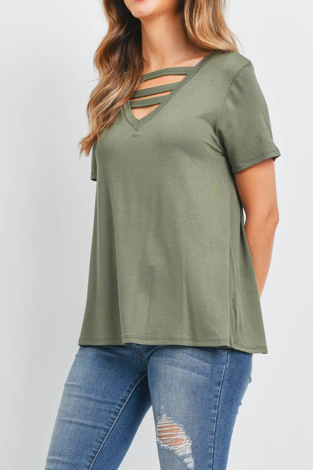 Riah Fashion Triple Strap Neck Solid Top - Side Cropped Image
