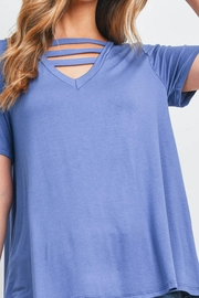 Riah Fashion Triple Strap Neck Solid Top - Other