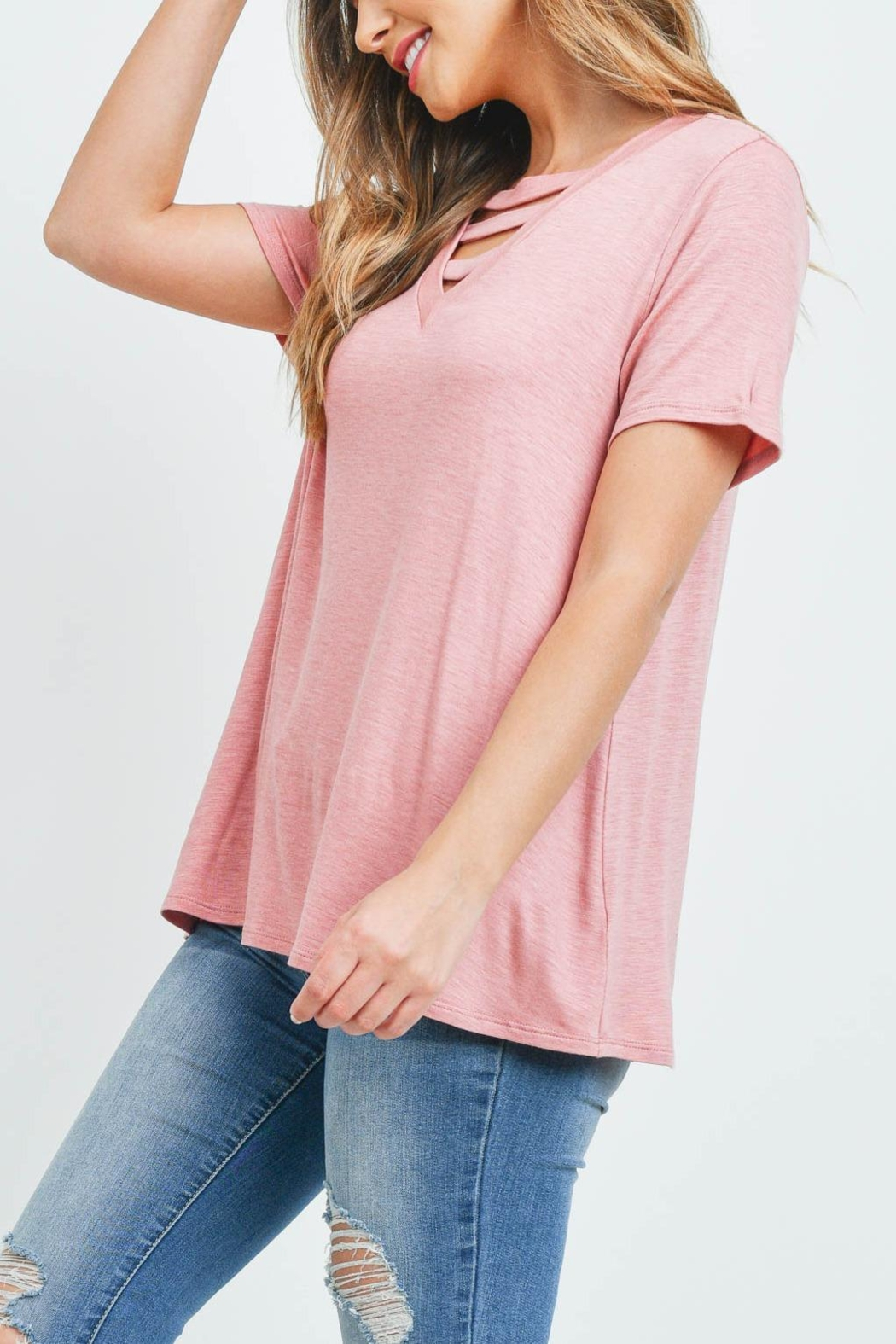 Riah Fashion Triple Strap Neck Solid Top - Back Cropped Image
