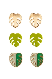 Riah Fashion Tropical Leaf 3 Pair Post Earrings - Product Mini Image