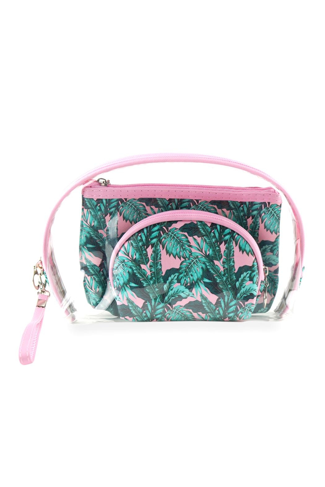 Riah Fashion Tropical-Leaves-And-Clear-3pcs Pouches - Main Image