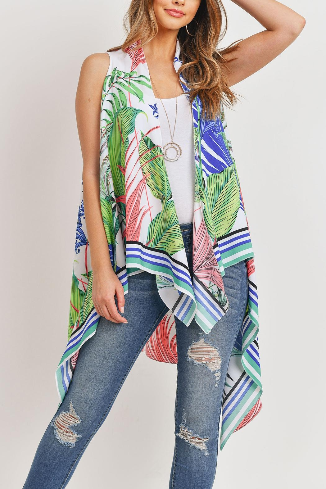 Riah Fashion Tropical-Plant Print-Open Front-Kimono-Vest - Main Image