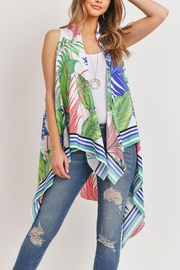 Riah Fashion Tropical-Plant Print-Open Front-Kimono-Vest - Front cropped