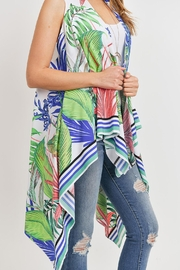 Riah Fashion Tropical-Plant Print-Open Front-Kimono-Vest - Other