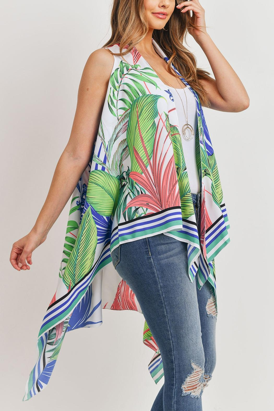 Riah Fashion Tropical-Plant Print-Open Front-Kimono-Vest - Back Cropped Image