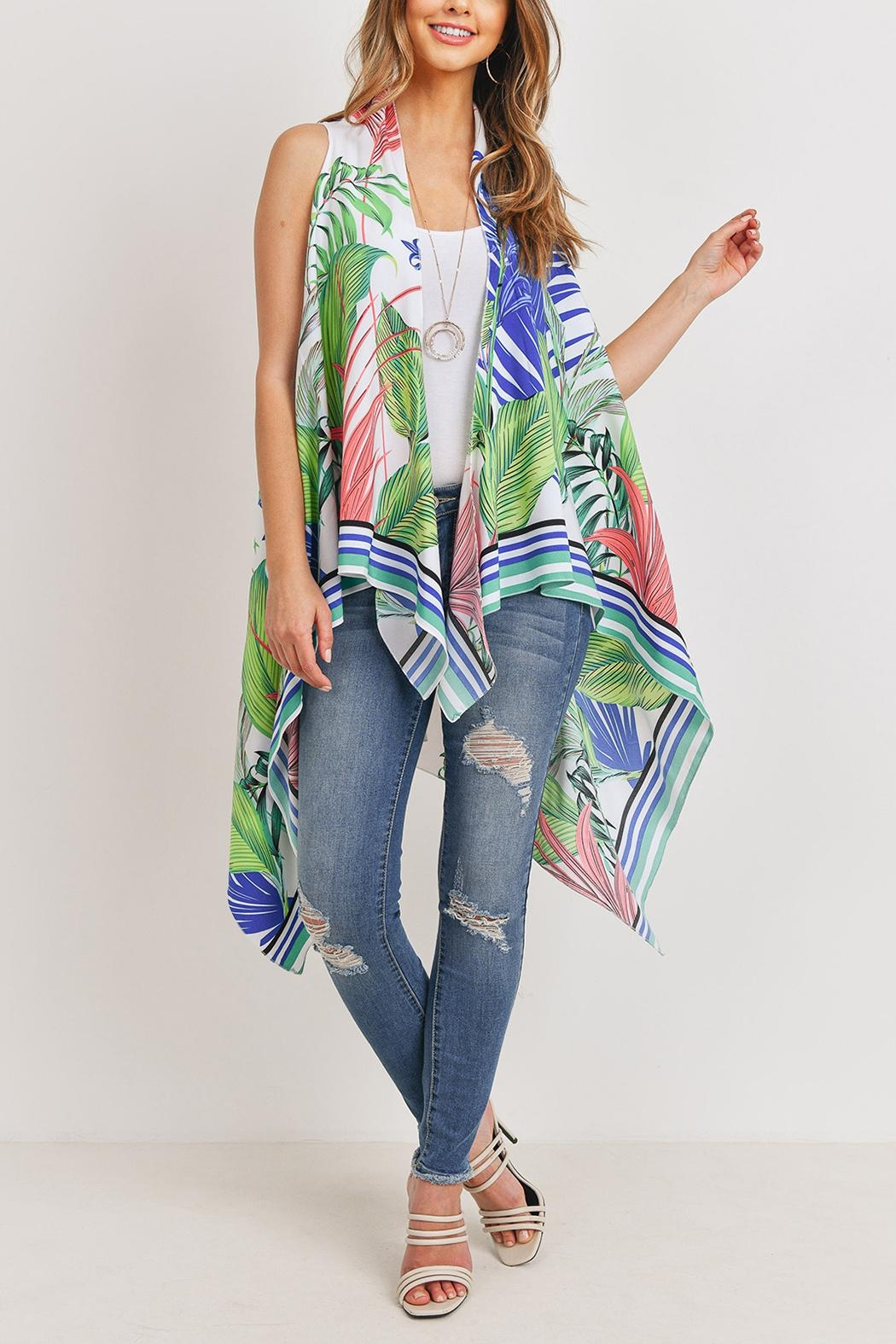 Riah Fashion Tropical-Plant Print-Open Front-Kimono-Vest - Side Cropped Image