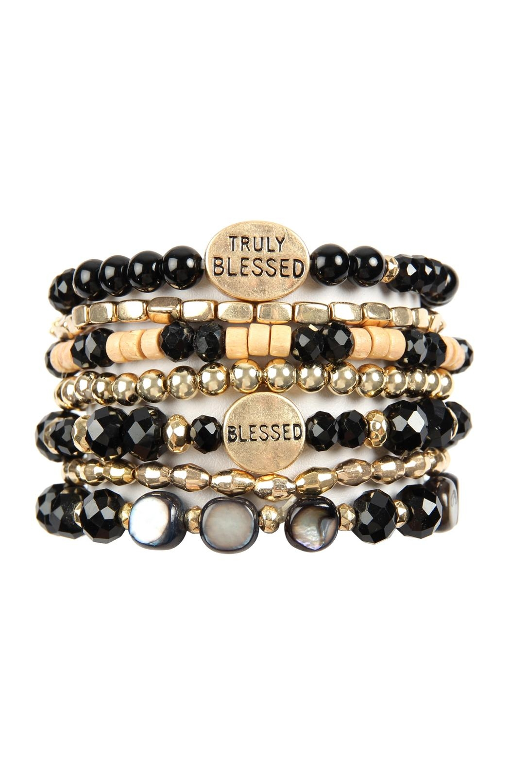 Riah Fashion Truly Blessed Charm Mix Beads Bracelet - Main Image