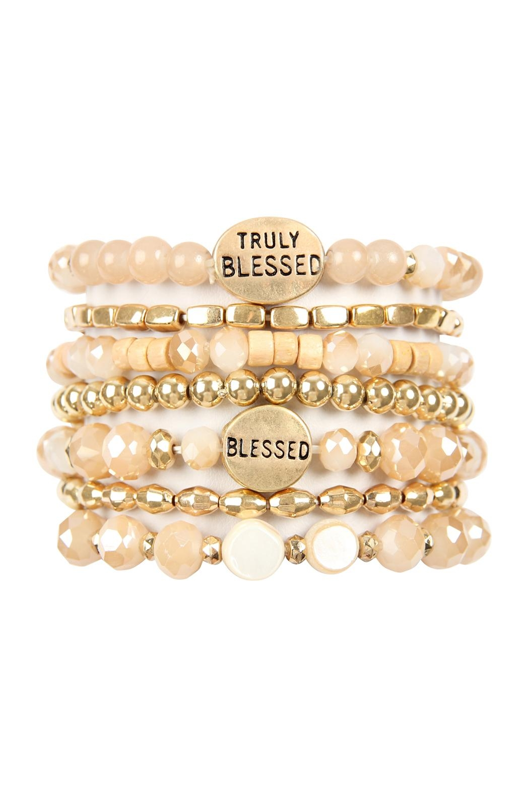 Riah Fashion Truly Blessed Charm Mix Beads Bracelet - Front Cropped Image