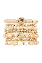 Riah Fashion Truly Blessed Charm Mix Beads Bracelet - Front cropped