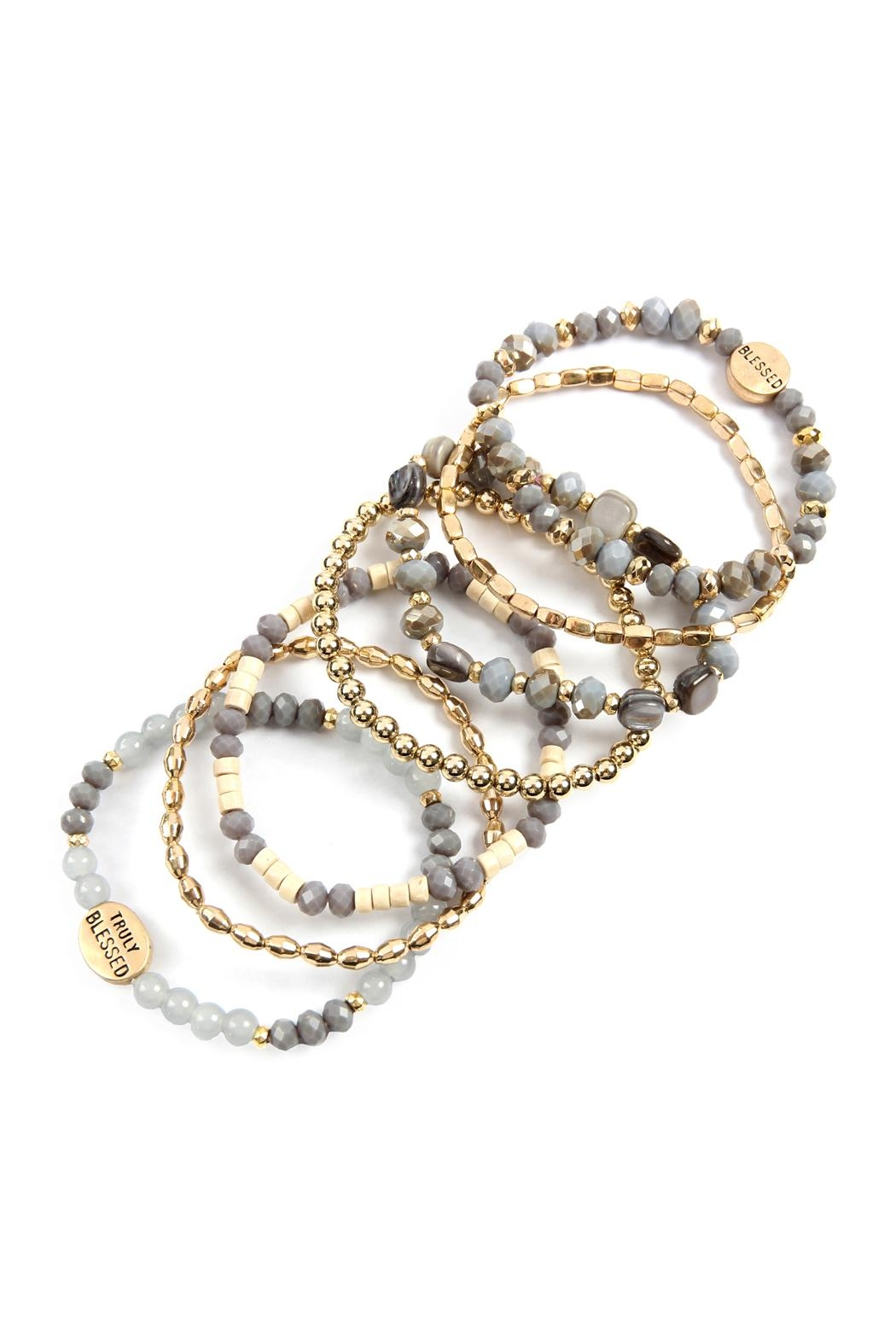 Riah Fashion Truly Blessed Charm Mix Beads Bracelet - Front Full Image