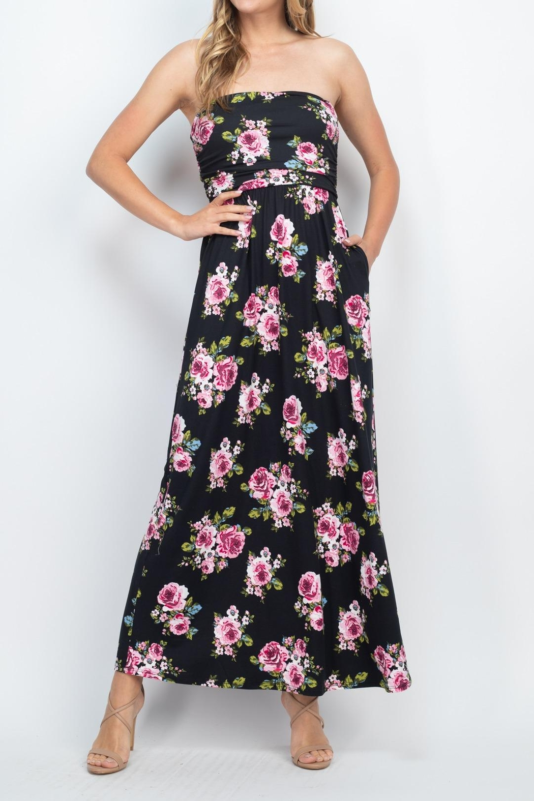 Riah Fashion Tube-Top-Floral-Pocket-Maxi-Dress-With-Inside-Lining - Back Cropped Image