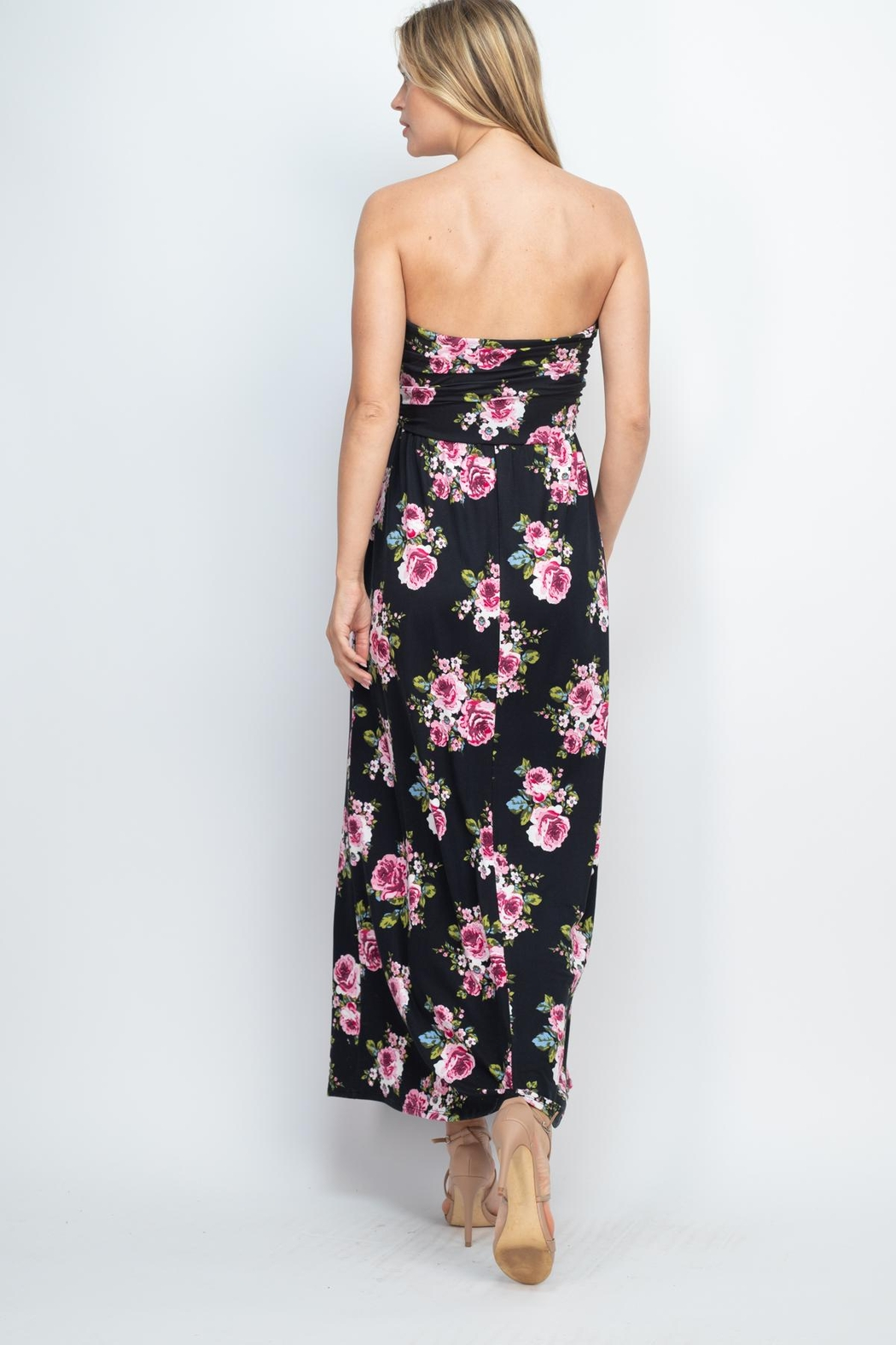 Riah Fashion Tube-Top-Floral-Pocket-Maxi-Dress-With-Inside-Lining - Front Full Image