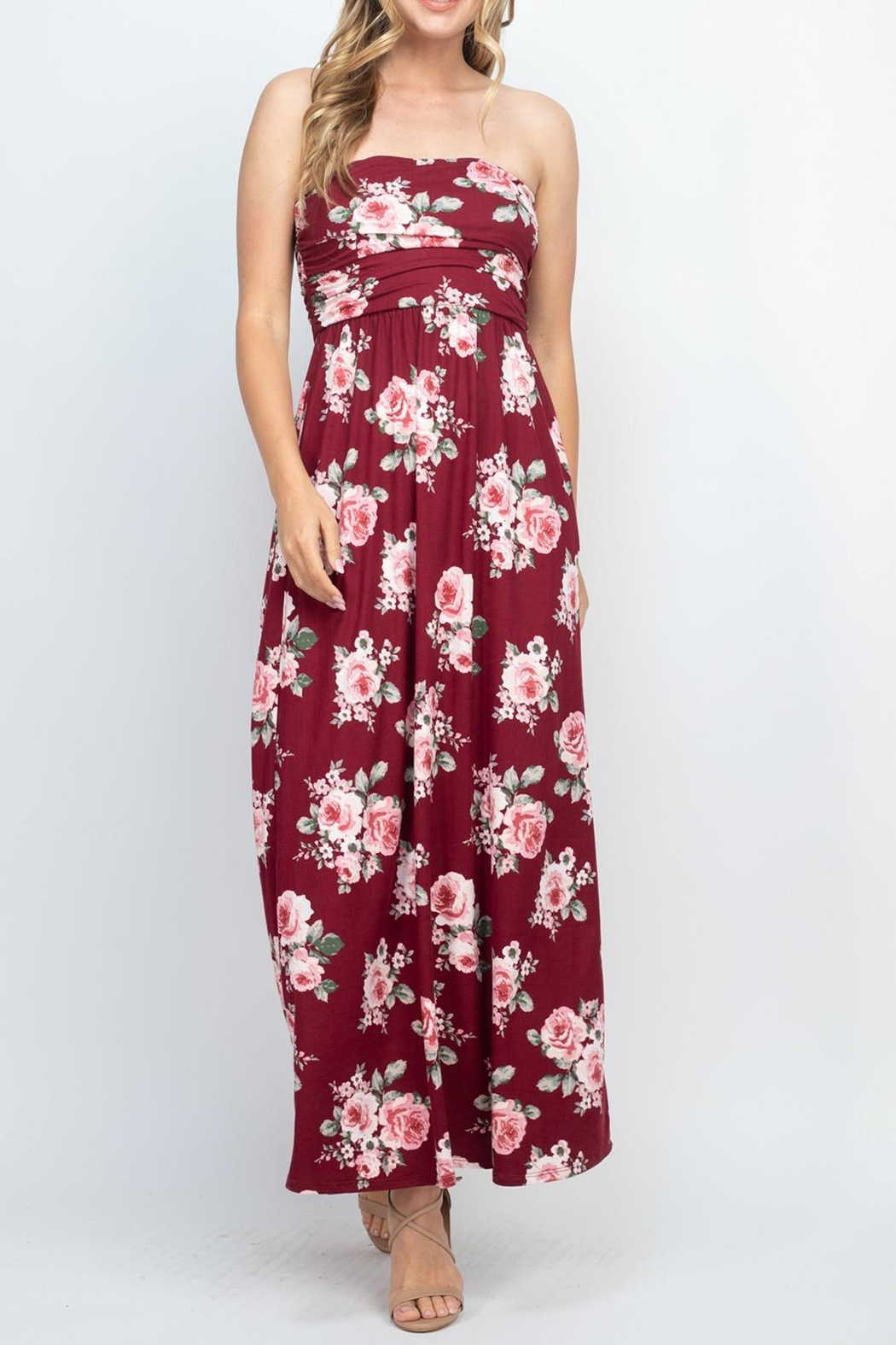 Riah Fashion Tube-Top-Floral-Pocket-Maxi-Dress-With-Inside-Lining - Front Cropped Image